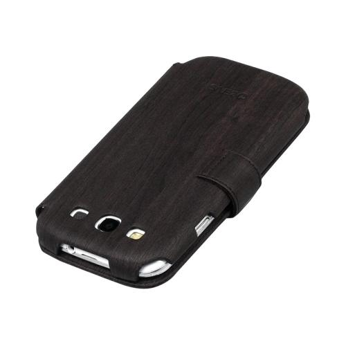 OEM Zenus Samsung Galaxy S3 Masstige Woodlot Block Leather Diary Case w/ ID Slots - Black Chocolate