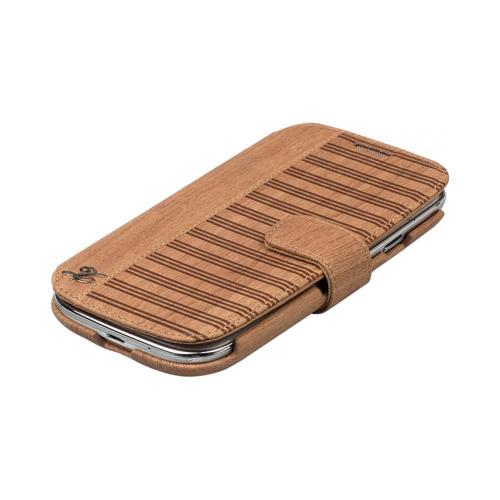 OEM Zenus Samsung Galaxy S3 Masstige Woodlot Block Leather Diary Case w/ ID Slots - Camel Brown
