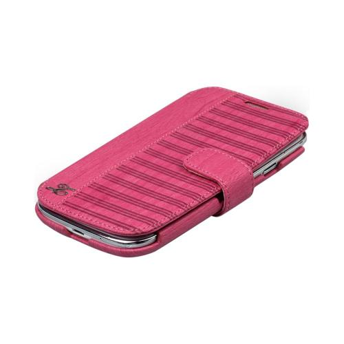 OEM Zenus Samsung Galaxy S3 Masstige Woodlot Block Leather Diary Case w/ ID Slots - Hot Pink