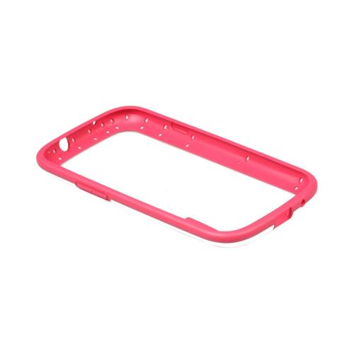 OEM Walnutt Samsung Galaxy S3 Metro Block Crystal Silicone Bumper - White/ Hot Pink