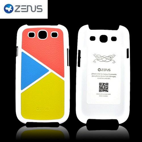Zenus Samsung Galaxy S3 Skinny Leather on Hard Case - Peach/ Sky Blue/ Yellow