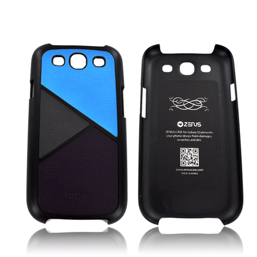 Zenus Samsung Galaxy S3 Skinny Leather on Hard Case - Blue/ Gray/ Purple