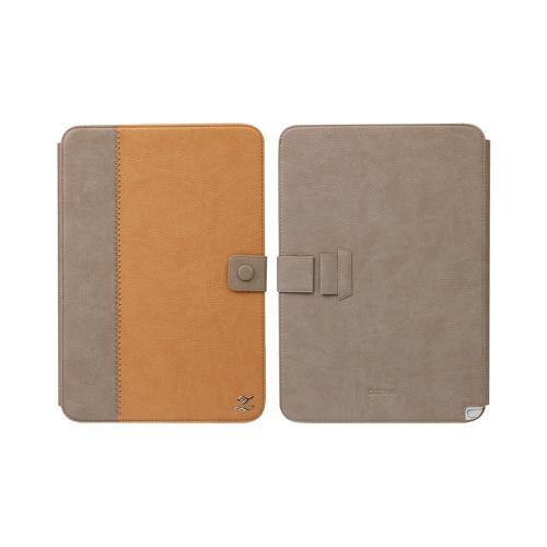 OEM Zenus Samsung Galaxy Note 10.1 Masstige Band Series Leather Stand Case - Light/Dark Brown