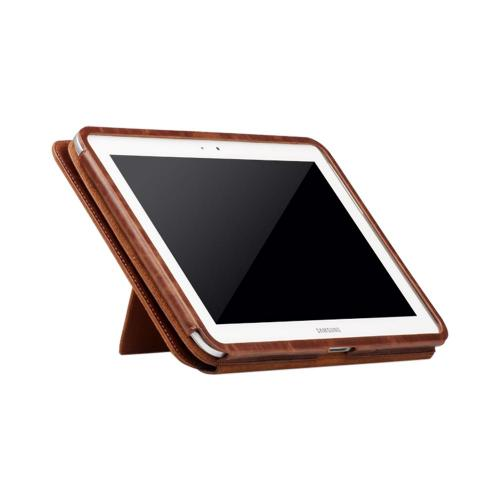 OEM Zenus Samsung Galaxy Note 10.1 Masstige Band Lettering Leather Stand Case - Brown