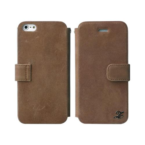 OEM Zenus Apple iPhone 5 Prestige Vintage Leather Diary w/ ID Slots & Wriststrap - Brown