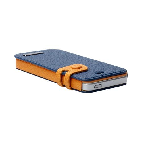 OEM Zenus Apple iPhone 5 Masstige Color Edge Leather Diary Case w/ ID Slots - Navy/ Gold