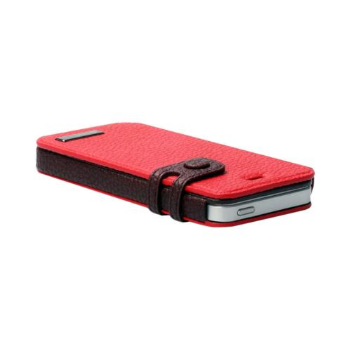 OEM Zenus Apple iPhone 5 Masstige Color Edge Leather Diary Case w/ ID Slots - Red/ Brown