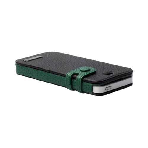 Apple iPhone SE / 5 / 5S  Case, Zenus [Black/ Green] Masstige Color Edge Leather Diary Case w/ ID Slots