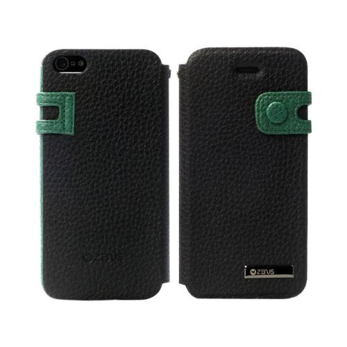 OEM Zenus Apple iPhone 5 Masstige Color Edge Leather Diary Case w/ ID Slots - Black/ Green