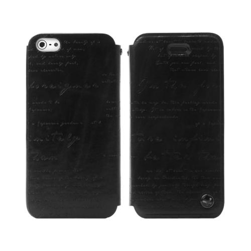 OEM Zenus Apple iPhone 5 Masstige Lettering Leather Diary Case w/ ID Slots - Black