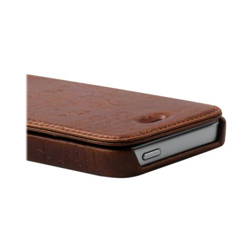 OEM Zenus Apple iPhone 5 Masstige Lettering Leather Diary Case w/ ID Slots - Brown