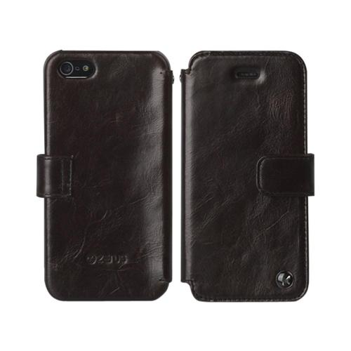 OEM Zenus Apple iPhone 5 Estime Leather Diary Case w/ ID Slot - Black