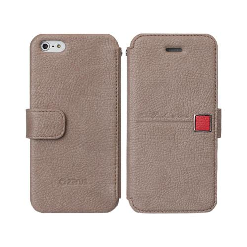 OEM Zenus Apple iPhone 5 Masstige Color Point Leather Diary Case w/ ID Slots - Gray/ Coral Pink
