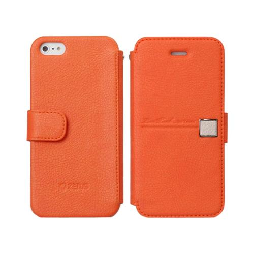 OEM Zenus Apple iPhone 5 Masstige Color Point Leather Diary Case w/ ID Slots - Orange/ Beige
