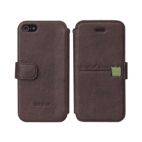 OEM Zenus Apple iPhone 5 Masstige Color Point Leather Diary Case w/ ID Slots - Brown/ Green