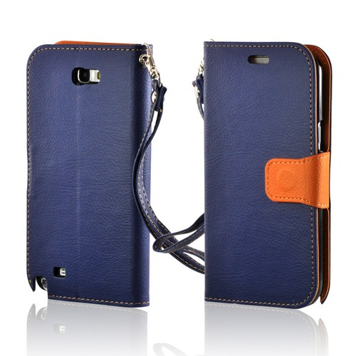 Navy Blue/ Orange Mount Leather Diary Flip Case w/ ID Slots, Stand & Wriststrap for Samsung Galaxy Note 2