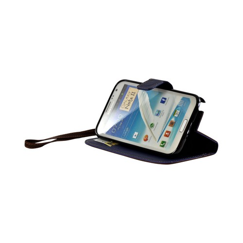 Brown/ Navy Blue Mount Leather Diary Flip Case w/ ID Slots, Stand & Wriststrap for Samsung Galaxy Note 2