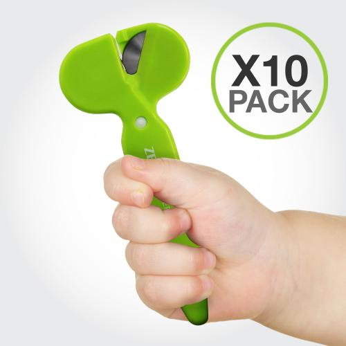 [10 Pack] Safety Scissors w/ Rotating Blades [Green]- Great For Children! [Zero-Cutter R2]