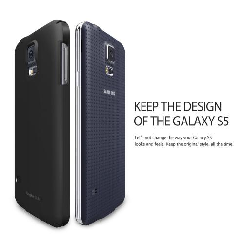 Dot Black Samsung Galaxy S5 SLIM Series Full Top and Buttom Coverage Premium Dual Coated Hard Cover Case w/ Free HD Film