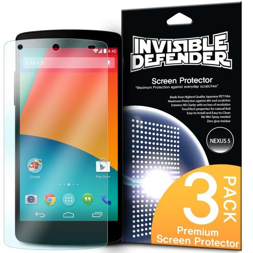 Nexus 5 [ringke Invisible Defender] Screen Protector - Premium Hd Clarity Ultra Thin Screen Protector For Google Nexus 5 (ringke) [3 Pack]