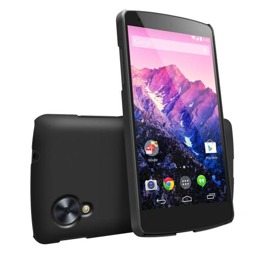 Black Google Nexus 5 SLIM Series Premium Dual Coated Hard Cover Case w/ Free HD Film