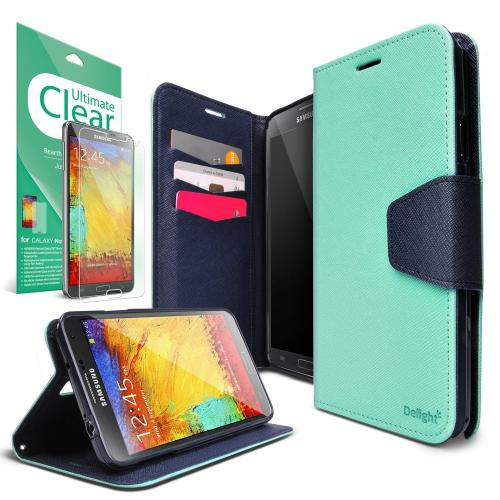 Galaxy Note 3 Case - Ringke DELIGHT Case [Free HD Film][MINT] Premium PU Saffiano Leather Standing View Diary Case Flip Cover for Samsung Galaxy Note 3 - Eco Package