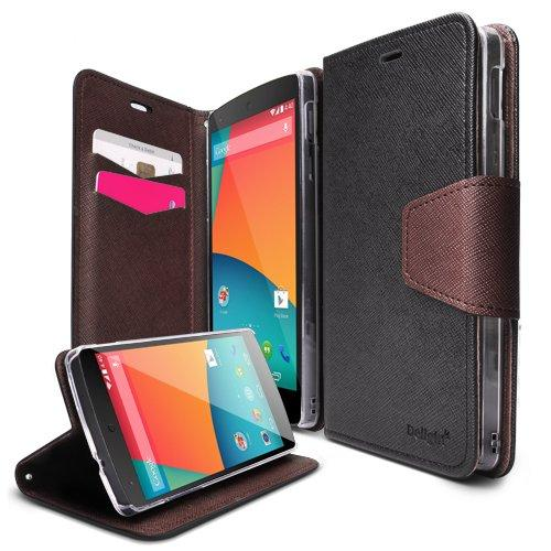 Nexus 5 Case - Ringke DELIGHT Case [Free HD Film][BLACK] Premium PU Saffiano Leather Standing View Diary Case Flip Cover for Google Nexus 5 - Eco Package