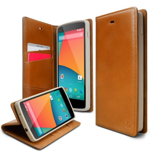 Nexus 5 Case - Ringke DISCOVER Case [Free HD Film][BROWN] Premium Genuine Leather Standing View Diary Case Flip Cover Wallet Case for Google Nexus 5