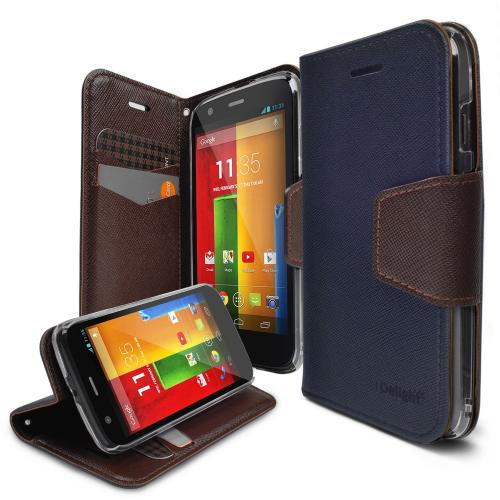 Moto G Case - Ringke DELIGHT Case [Free HD Film][NAVY] Premium PU Saffiano Leather Standing View Diary Case Flip Cover for Motorola Moto G 1st Gen. 2013 - Eco Package