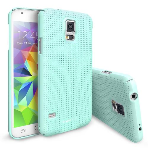 Dot Mint Samsung Galaxy S5 SLIM Series Full Top and Buttom Coverage Premium Dual Coated Hard Cover Case w/ Free HD Film