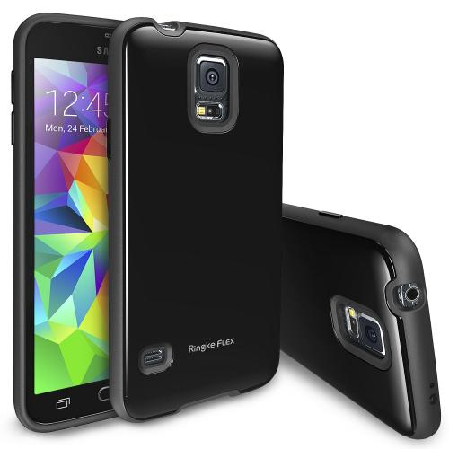 Manufacturers Black Samsung Galaxy S5 Ringke Flex Series Premium Flexible TPU Strong N Soft Case w/ Free Screen Protector - Conforms To Your Phone Without Stretching Out! Skins