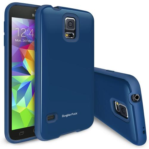 Metallic Blue Samsung Galaxy S5 Ringke Flex Series Premium Flexible TPU Strong N Soft Case w/ Free Screen Protector - Conforms To Your Phone Without Stretching Out!