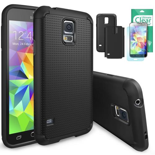 Galaxy S5 Case by Ringke | Max Double Layer Heavy Duty Protection Armor Case [Free Back Frame/HD Film Slim Max Protection] [Black] Eco Package
