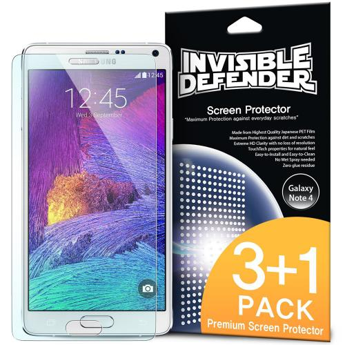 Samsung Galaxy Note 4 Screen Protector, Ringke [Invisible Defender] HD Ultra Thin Scratch Resistant, Bubble Free, Protective Screen Guard Film 4 Pack