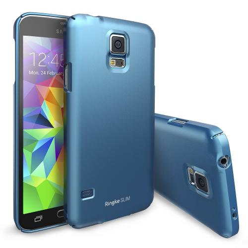 Electric Blue Samsung Galaxy S5 SLIM Series Full Top and Buttom Coverage Hard Cover Case w/ Free Premium Screen Protector