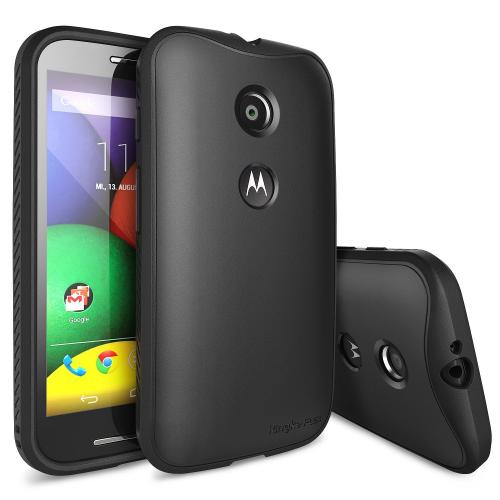 Black Motorola Moto E Ringke Flex Series Premium Flexible TPU Strong N Soft Case w/ Free Screen Protector - Conforms To Your Phone Without Stretching Out!