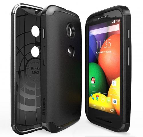 Moto E Case - Ringke MAX Case [FREE HD Film-Slim Max Protection][BLACK] Double Layer Heavy Duty Protection Armor Case for Motorola Moto E - Eco Package