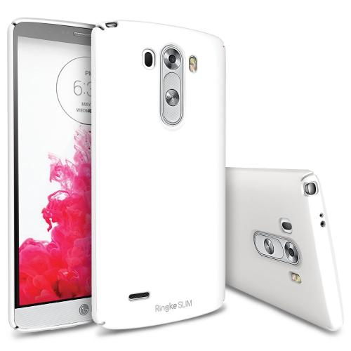 LG G3 Case, Ringke [LF White] SLIM Series Featuring Premium Dual Coated Polycarbonate with Full Top & Bottom Coverage w/ Free Screen Protector