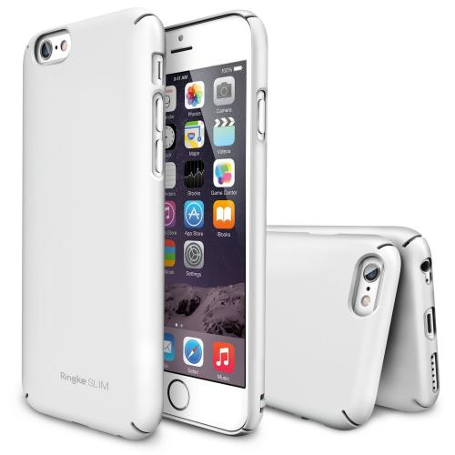 "Solid White Apple iPhone 6 (4.7"") SLIM Series Premium Dual Coated Hard Cover Case"