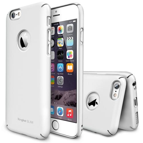 Solid White Apple iPhone 6 (4.7 inches) SLIM Series Premium Dual Coated Hard Cover Case w/ Logo Cut out