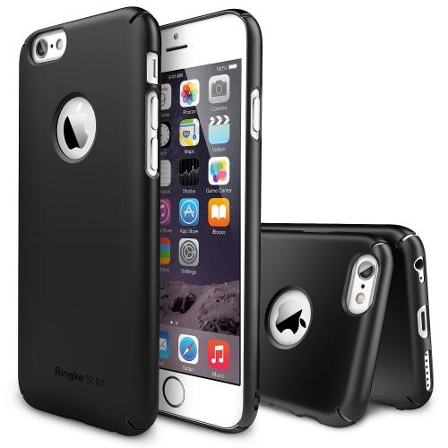 "Black Apple iPhone 6 (4.7"") SLIM Series Premium Dual Coated Hard Cover Case w/ Logo Cut out"