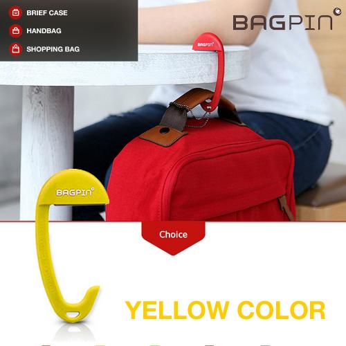 Bagpin Hanger [Yellow] Super Strong Hanger/Hook For Purses, Bags, And Backpacks (Holds Up To 33lbs!) Attaches To Your Purse Or Bag For Convenience