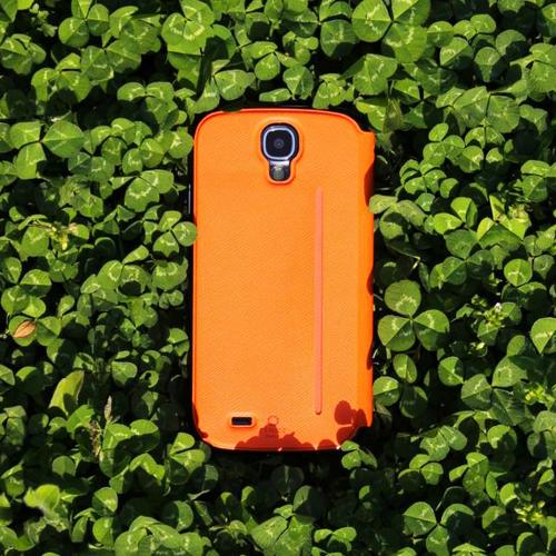 Fenice Orange Creatto Series Premium Italian PU Leather Flip Diary Case w/ Magic Tape & Card Pocket for Samsung Galaxy S4