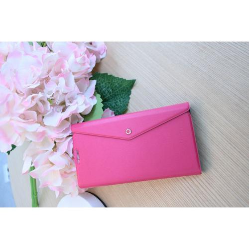 Fenice Hot Pink Clutch Series Premium Italian PU Leather Flip Diary Case w/ Magic Tape, Card Pocket, & Magnetic Closure for Samsung Galaxy S4