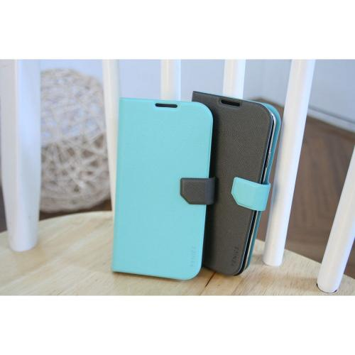 Fenice Mint/ Black Diario Ver.2 Series Premium Italian PU Leather Flip Diary Case w/ Magic Tape, Card Pocket, & Magnetic Closure for Samsung Galaxy S4
