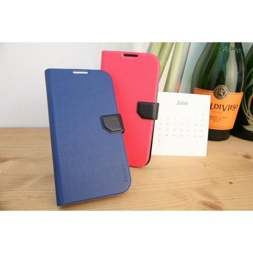 Fenice Hot Pink/ Navy Diario Ver.2 Series Premium Italian PU Leather Flip Diary Case w/ Magic Tape, Card Pocket, & Magnetic Closure for Samsung Galaxy S4