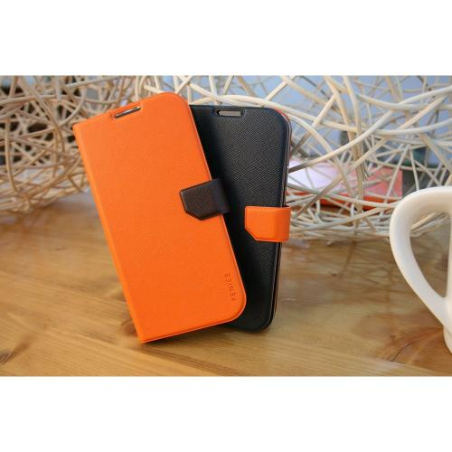 Fenice Orange/ Dark Brown Diario Ver.2 Series Premium Italian PU Leather Flip Diary Case w/ Magic Tape, Card Pocket, & Magnetic Closure for Samsung Galaxy S4
