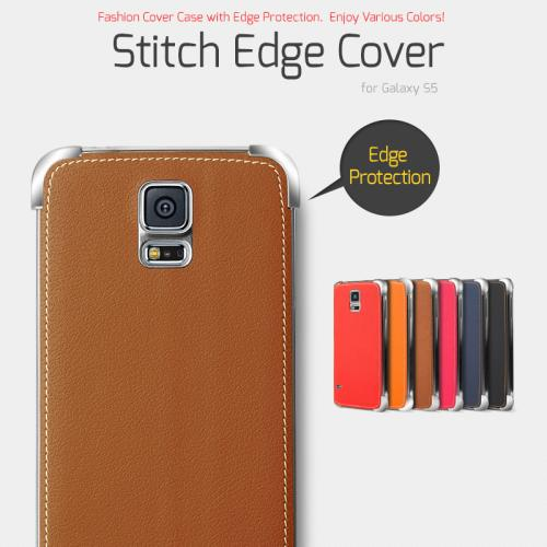 Nodea Light Brown Samsung Galaxy S5 Hanton Stitch Series Faux Leather Case Skin Fashion Slim Hard Case Cover For Men And Women
