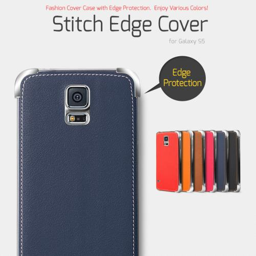 Nodea Navy Samsung Galaxy S5 Hanton Stitch Series Faux Leather Case Skin Fashion Slim Hard Case Cover For Men And Women