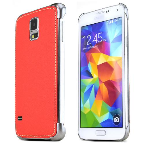 Nodea Orange Samsung Galaxy S5 Hanton Stitch Series Faux Leather Case Skin Fashion Slim Hard Case Cover For Men And Women